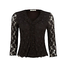 Buy Precis Petite Lace Jersey Top, Brown Online at johnlewis.com