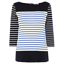 Buy Oasis 3/4 Length Sleeve Striped Top, Multi Blue Online at johnlewis.com