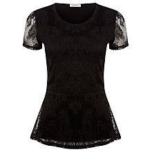 Buy Kaliko Lace Peplum Top, Black Online at johnlewis.com