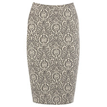 Buy Warehouse Jacquard Zip Pencil Skirt, Cream Online at johnlewis.com