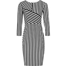 Buy Reiss Carter Jersey Striped Dress, Black Online at johnlewis.com