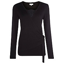 Buy Kaliko Lace Insert Wrap Jumper, Black Online at johnlewis.com
