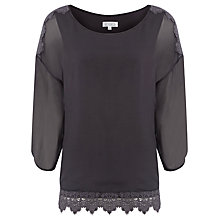 Buy Kaliko Silk Lace Top, Grey Online at johnlewis.com