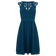 Buy Warehouse Lace Back Soft Dress, Teal Online at johnlewis.com