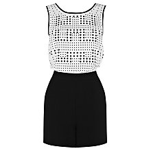 Buy Warehouse Hot Fix Playsuit, Black Stripe Online at johnlewis.com