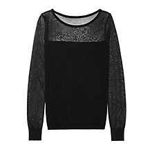 Buy Reiss Bebbington Knit Mesh Detail Jumper, Black Online at johnlewis.com