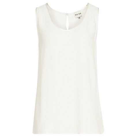 Buy Reiss Eden Satin Binding Tank Top, Off-White Online at johnlewis.com