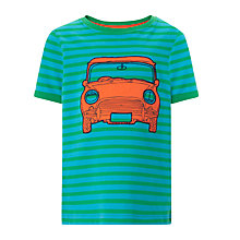 Buy John Lewis Boy Striped Car T-Shirt, Green/Blue Online at johnlewis.com