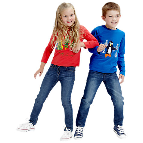 Buy Kids Company Christmas Tree Long Sleeved Top, Red/Multi Online at johnlewis.com