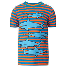 Buy John Lewis Boy Shark Stripe Top, Orange/Blue Online at johnlewis.com