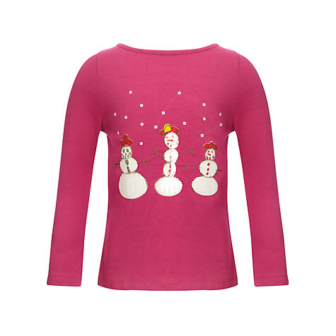 Buy Kids Company Snowman Long Sleeved Top, Pink Online at johnlewis.com