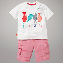Buy John Lewis Fish T-Shirt and Short Set, Red/White Online at johnlewis.com