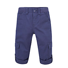 Buy John Lewis Canvas Ribbed Waist Trousers, Navy Online at johnlewis.com
