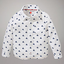 Buy John Lewis Roll-Up Boat Shirt, White/Navy Online at johnlewis.com