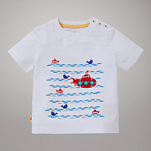 Buy John Lewis Wave Submarine T-Shirt, White Online at johnlewis.com