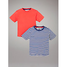 Buy John Lewis Striped and Plain Tops, Pack of 2, Red/Blue Online at johnlewis.com
