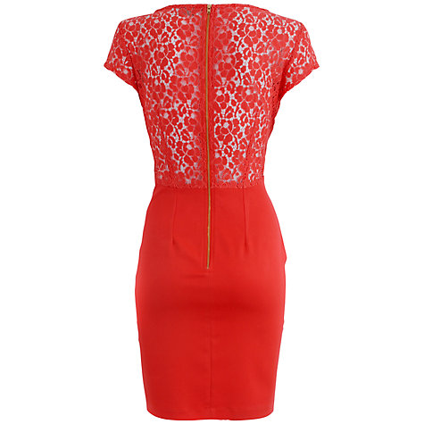 Buy Almari Lace Pencil Dress, Coral Online at johnlewis.com