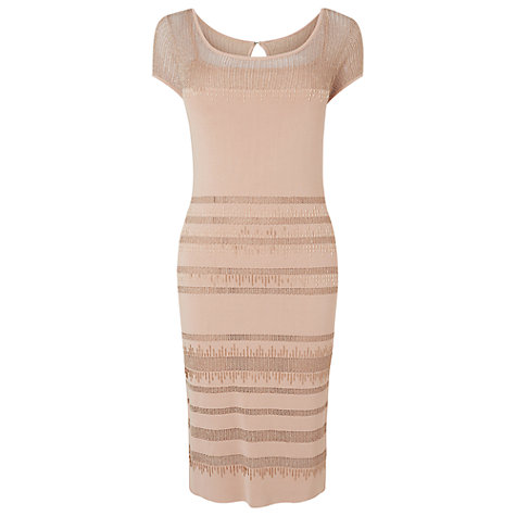Buy Phase Eight Beth Bugle Beaded Dress, Dusty Pink Online at johnlewis.com