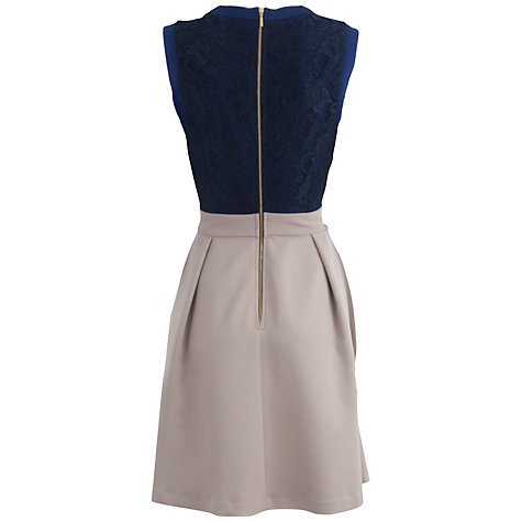 Buy Almari Lace Top Flared Dress, Navy Online at johnlewis.com