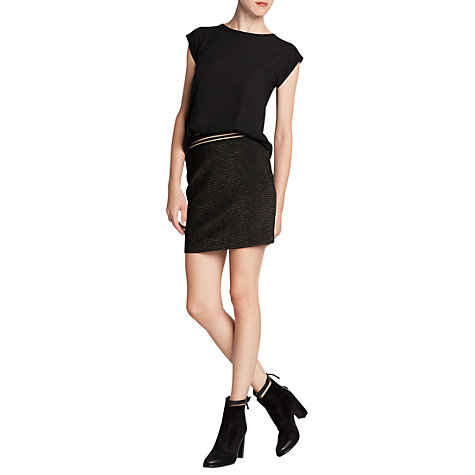 Buy Mango Metallic Detail Bodycon Skirt, Gold/Black Online at johnlewis.com