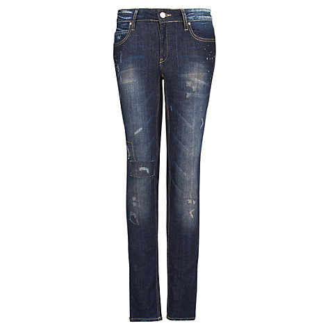 Buy Mango Slim Vintage Wash Jeans, Dark Blue Online at johnlewis.com
