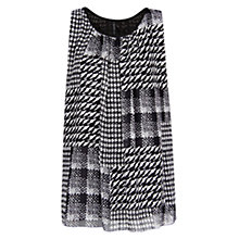 Buy Mango Houndstooth Chiffon Top, Black Online at johnlewis.com