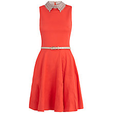 Buy Almari Laser Cut Collar Dress, Coral Online at johnlewis.com