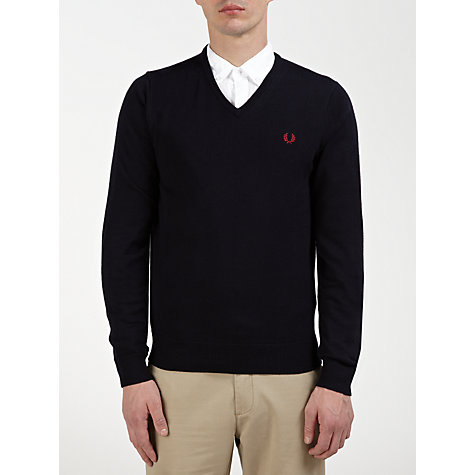 Buy Fred Perry Merino V-Neck Jumper, Navy Online at johnlewis.com