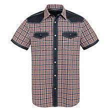 Buy Armani Jeans Check Denim Detailed Shirt, Red/Navy Online at johnlewis.com