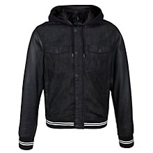 Buy Armani Jeans Denim Leather Sleeve Bomber Jacket, Navy Online at johnlewis.com