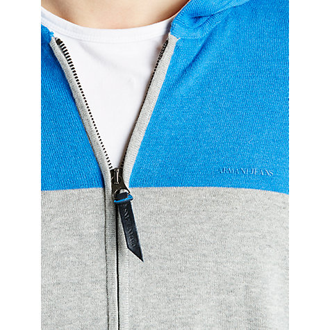 Buy Armani Jeans Contrast Cotton Full Zip Hoodie, Cobalt Blue/Grey Melange Online at johnlewis.com