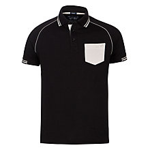 Buy Armani Jeans Tipped Contrast Pocket Polo Shirt, Black/White Online at johnlewis.com
