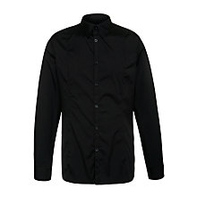 Buy Armani Jeans Stretch Poplin Cotton Shirt, Black Online at johnlewis.com