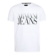 Buy Armani Jeans Large Logo T-Shirt, White Online at johnlewis.com