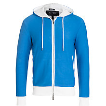 Buy Armani Jeans Reversible Logo Print Full Zip Jersey Hoodie, Cobalt Blue/White Online at johnlewis.com