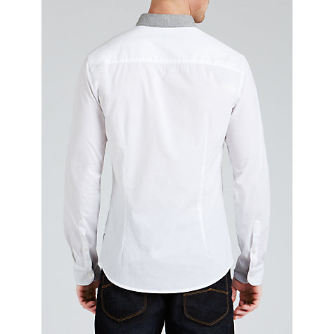 Buy Armani Jeans Jersey Collar Shirt, White/Grey Online at johnlewis.com