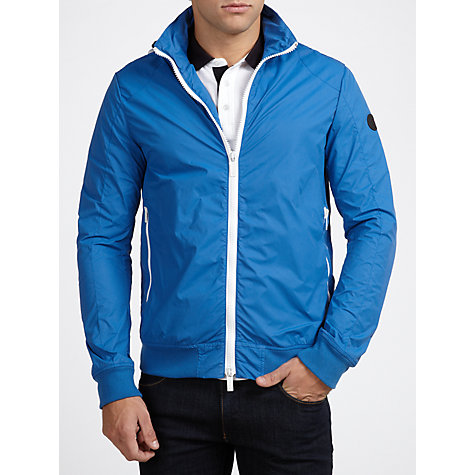 Buy Armani Jeans Nylon Bomber Jacket, Cobalt Blue Online at johnlewis.com