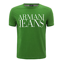 Buy Armani Jeans Large Logo T-Shirt, Green Online at johnlewis.com