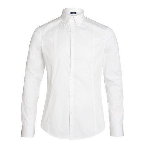 Buy Armani Jeans Stretch Poplin Cotton Long Sleeve Shirt, White Online at johnlewis.com