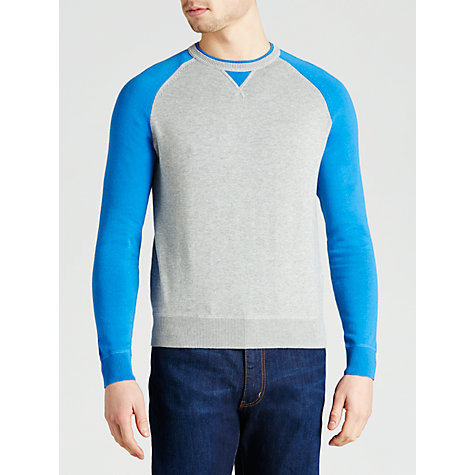 Buy Armani Jeans Contrast Raglan Sleeve Cotton Jumper, Cobalt Blue/Grey Melange Online at johnlewis.com