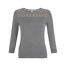 Buy Hobbs Tapestry Yoke Jumper, Parchment Black Online at johnlewis.com