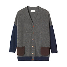 Buy Toast Draped Wool Cardigan, Charcoal Online at johnlewis.com