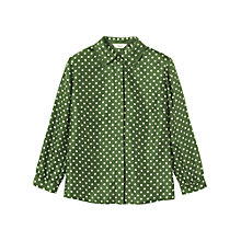 Buy Toast Polka Dot Pleated Blouse, Green Online at johnlewis.com