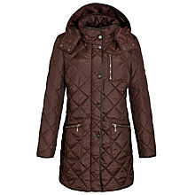 Buy Basler Hooded Quilted Coat, Chocolate Online at johnlewis.com