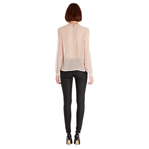 Buy Warehouse Embroidered Yoke Top, Mink Online at johnlewis.com