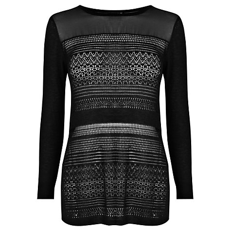 Buy Warehouse Sheer Panel Pointelle Jumper, Black Online at johnlewis.com