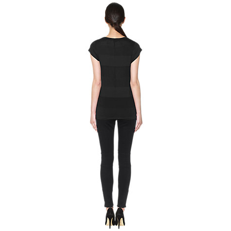 Buy Whistles Faye Tonal Seam Back T-Shirt, Black Online at johnlewis.com