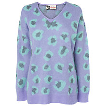 Buy Boutique by Jaeger Mohair Leopard Jumper, Purple Online at johnlewis.com