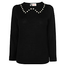 Buy Boutique by Jaeger Embroidered Collar Jumper, Black Online at johnlewis.com