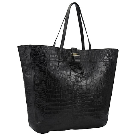 Buy Whistles Mock Croc Shoulder Handbag, Black Online at johnlewis.com